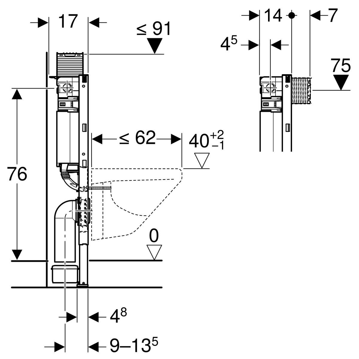 Geberit Duofix Element für Wand-WC, Höhe 15 cm, mit OMEGA UP-Spülkasten -  15
