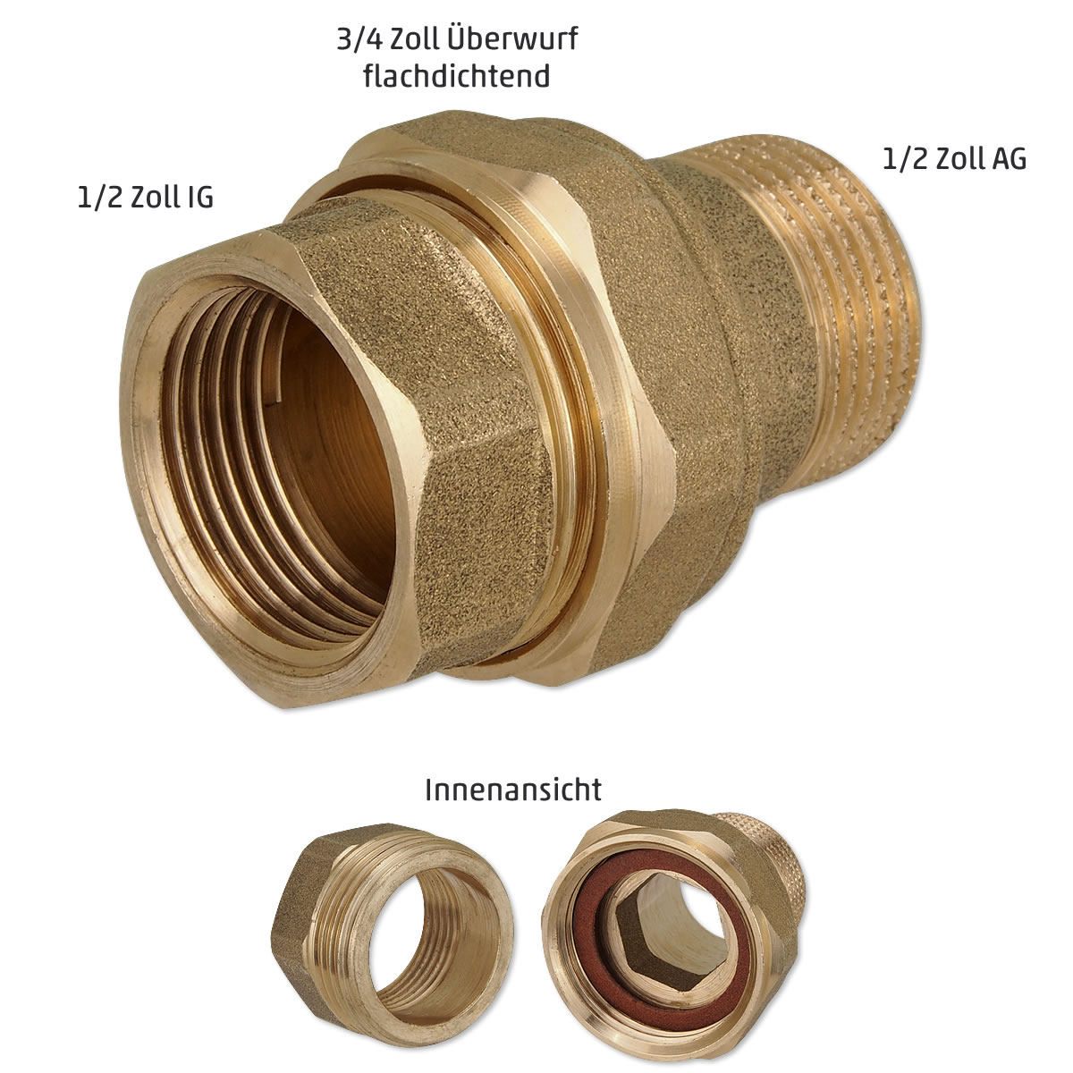 1 1//2 x 1 Zoll Pumpenverschraubung f/ür Wilo Grundfos Heizungspumpe Set mit 2 St/ück