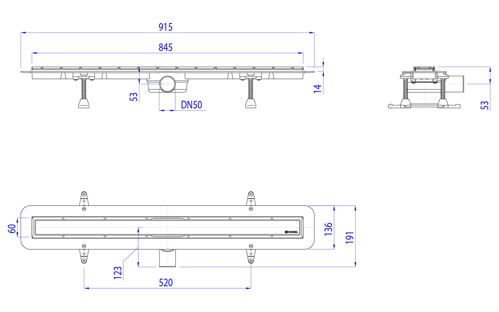 kessel duschrinne linearis compact dn 50 l nge 850 mm bad. Black Bedroom Furniture Sets. Home Design Ideas