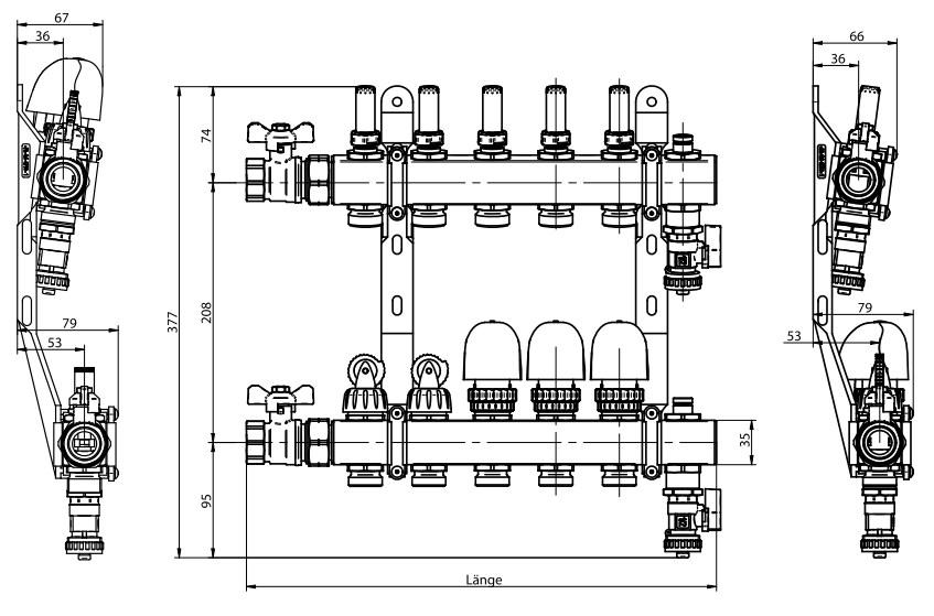 fbh verteiler 11 fach aus edelstahl mit topmeter. Black Bedroom Furniture Sets. Home Design Ideas