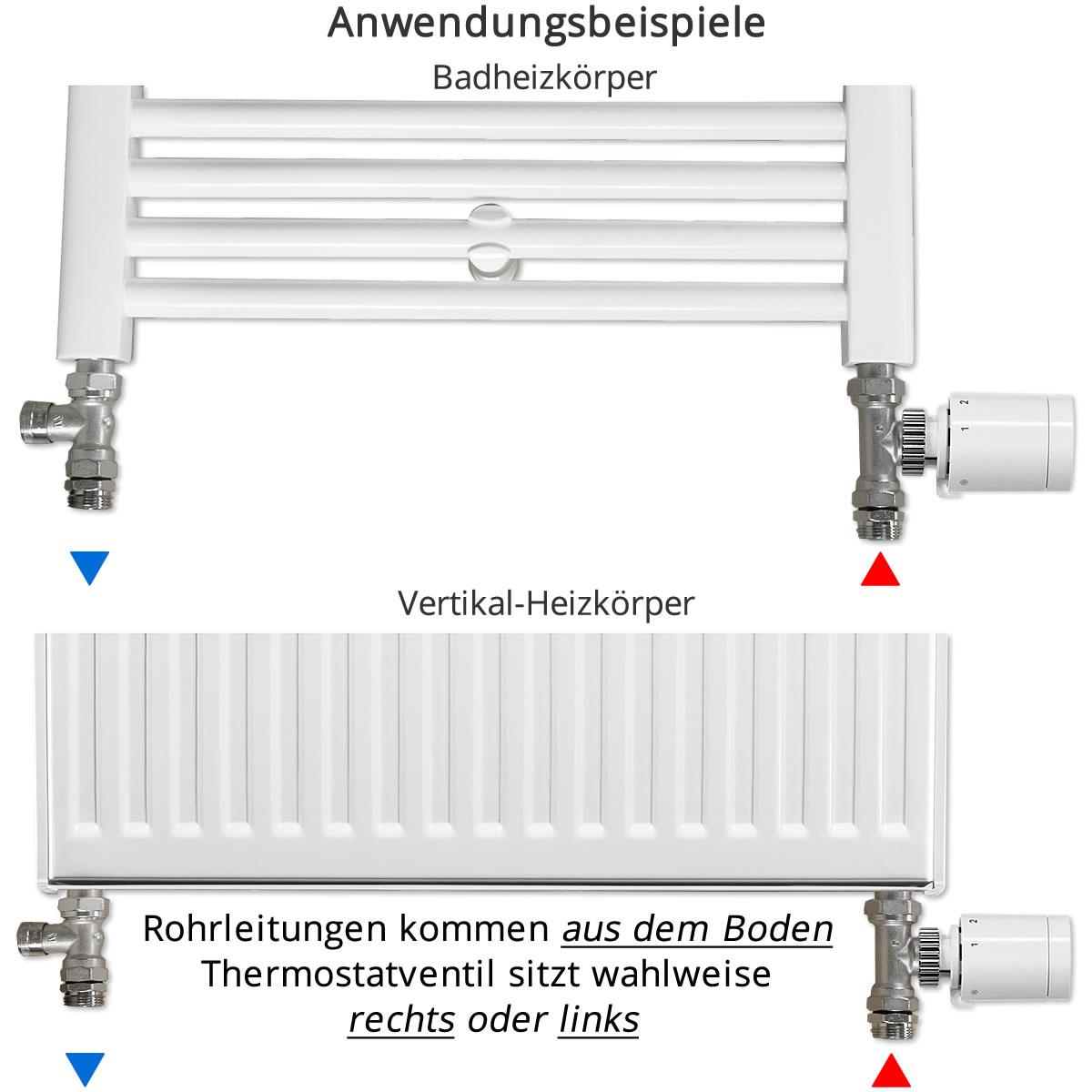 anschluss set f r vertikal badheizk rper durchgangsform thermostatventil zur seite rechts. Black Bedroom Furniture Sets. Home Design Ideas