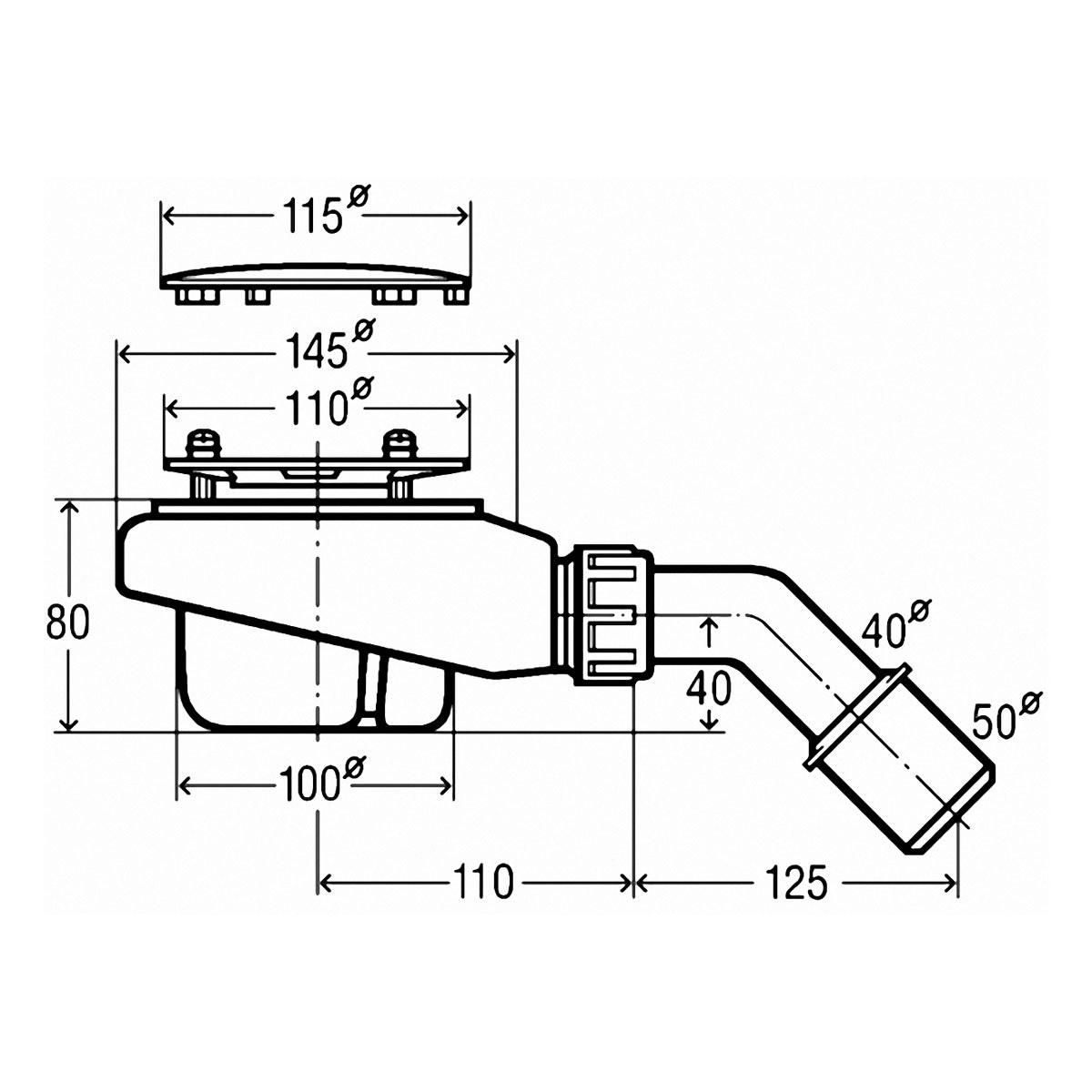 viega tempoplex ablaufgarnitur f r 90mm ablaufloch dn 40. Black Bedroom Furniture Sets. Home Design Ideas