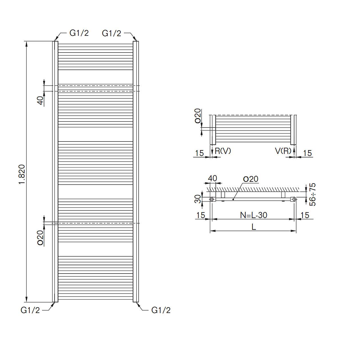 RAL 9016 Handtuchheizk/örper Buderus Badheizk/örper gerade Logatrend Therm direct 1820 mm Standardanschluss Breite: 750 mm