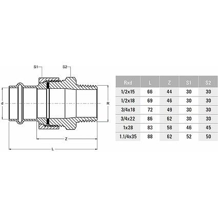 Press Schrägsitzventil 22 mm mit Entleerung DVGW und 2 Pressverschraubungen 22mm