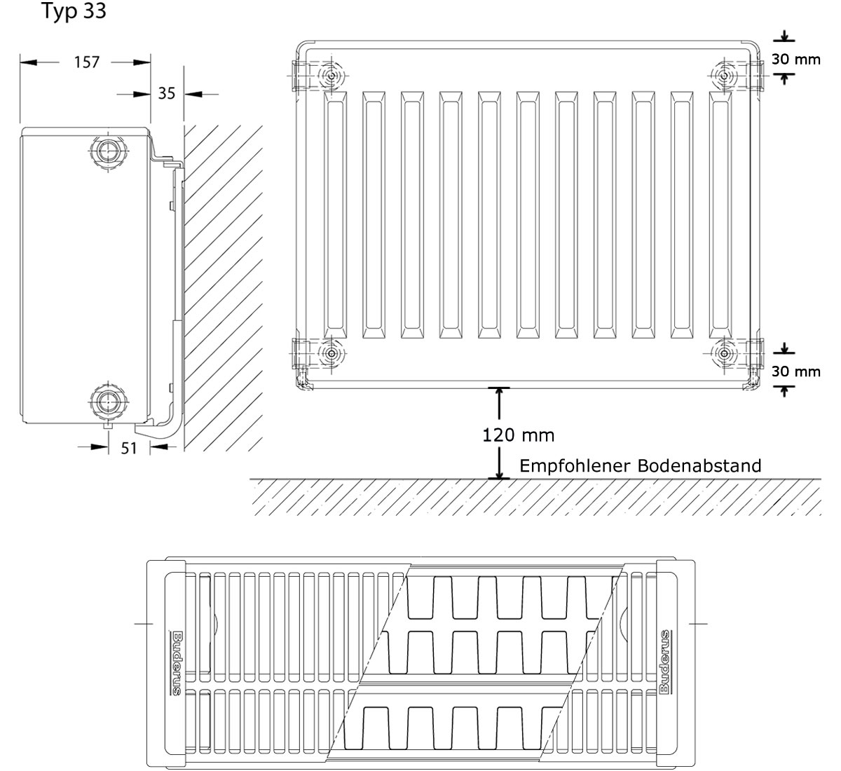 L/ängen BL: 3000 mm Buderus Logatrend Kompakt-Flachheizk/örper C-Profil Typ 33 BH 300 vers Halter