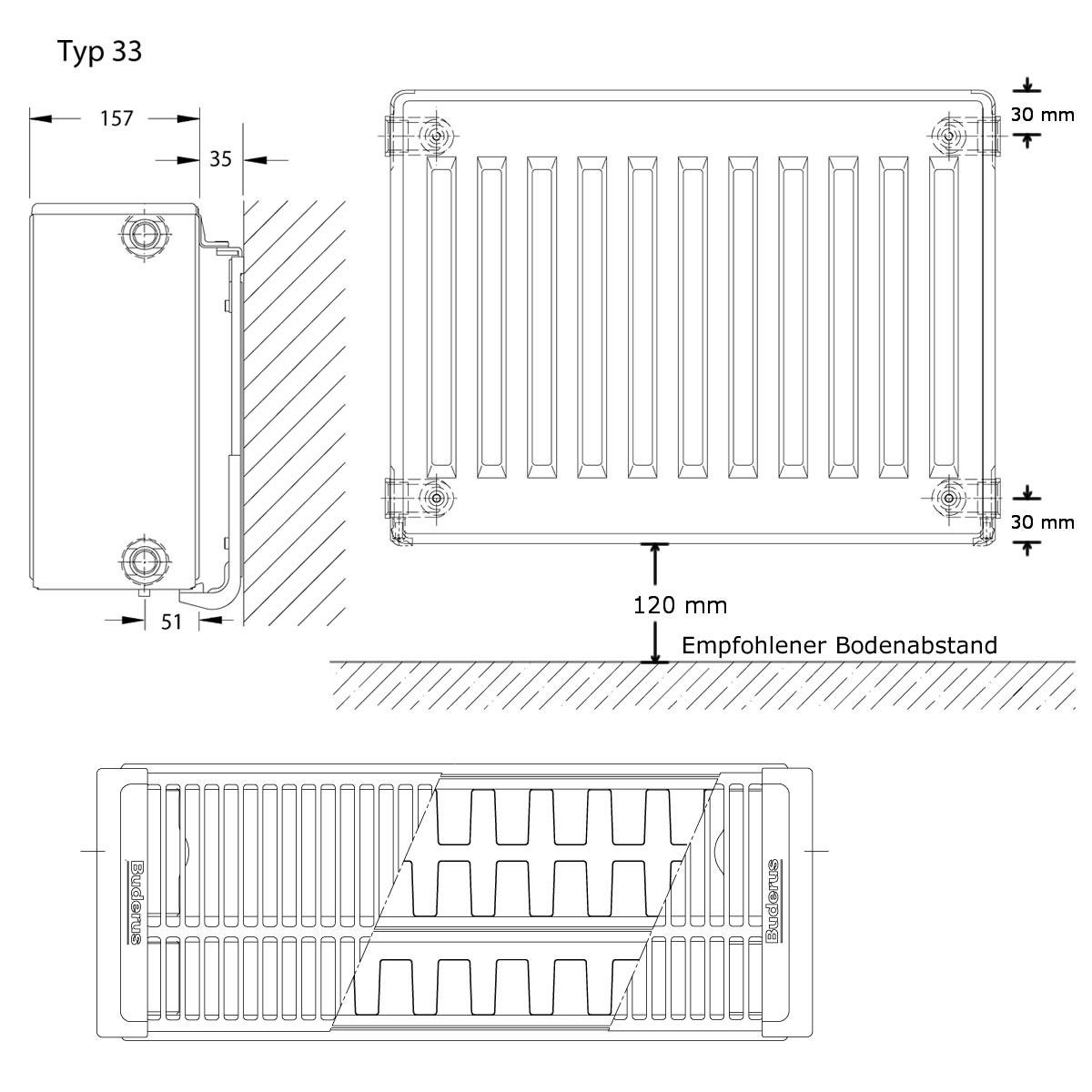 buderus logatrend c profil kompakt hk h 500mm l 1600mm typ 33. Black Bedroom Furniture Sets. Home Design Ideas