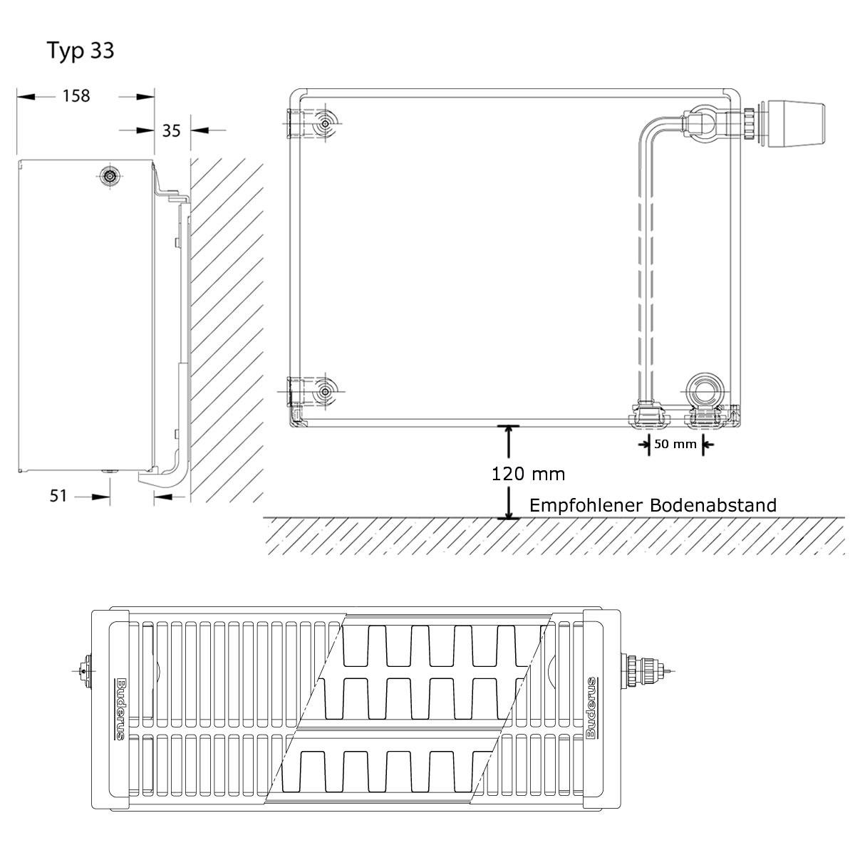 buderus plan-heizkörper ventil typ 33 300 x 2000 mm | heima24.de