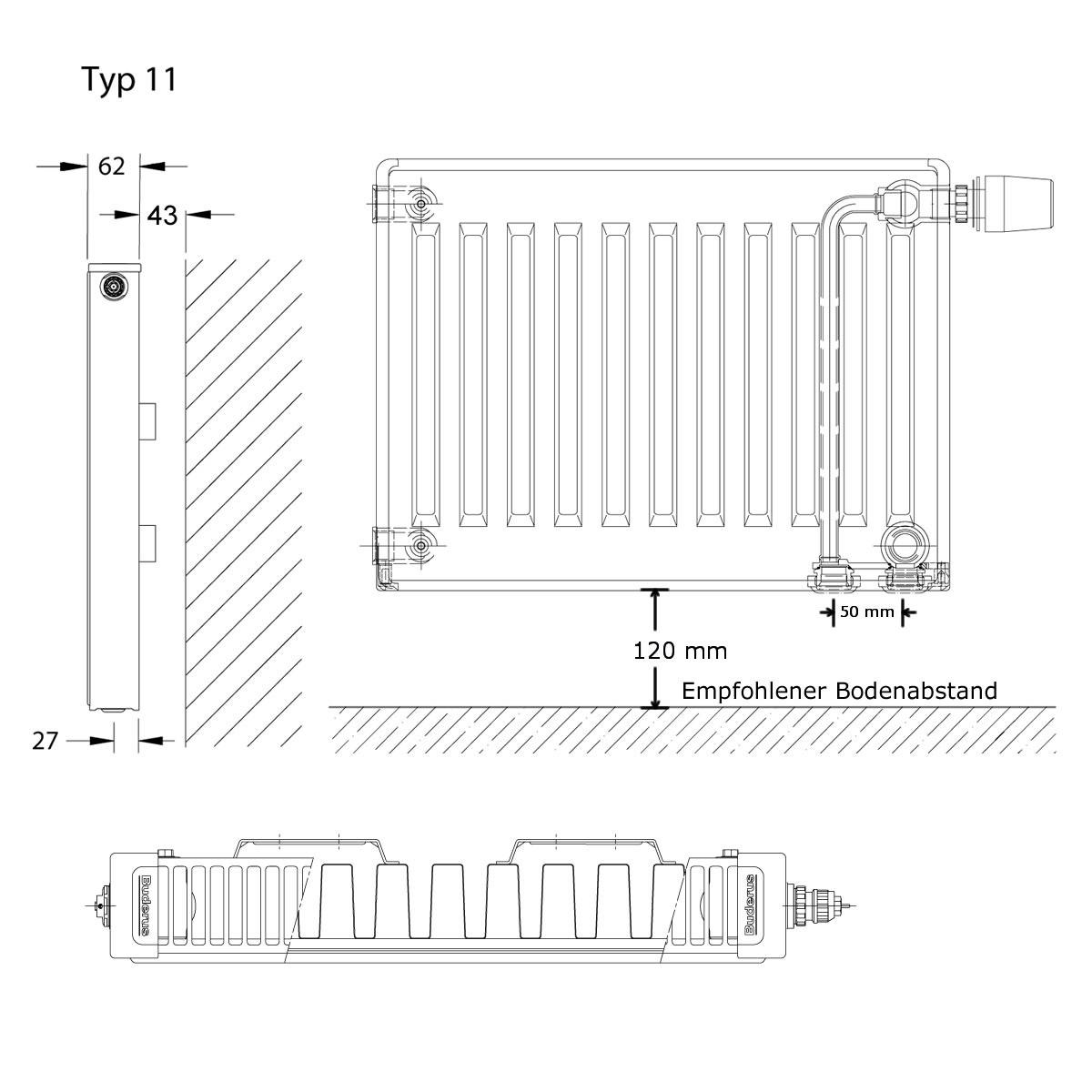 buderus typ 11 ventil-heizkörper profil inkl. zubehör h=900mm l=800mm