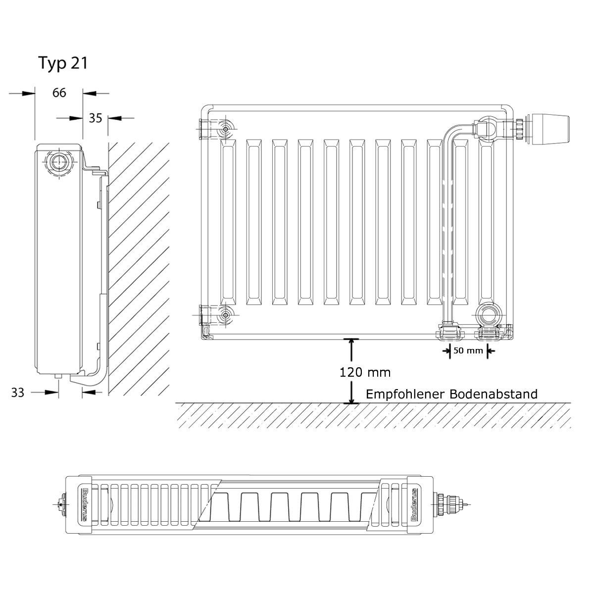 Buderus Logatrend Vc Profil Ventil Hk H 600mm L 1400mm Typ 21