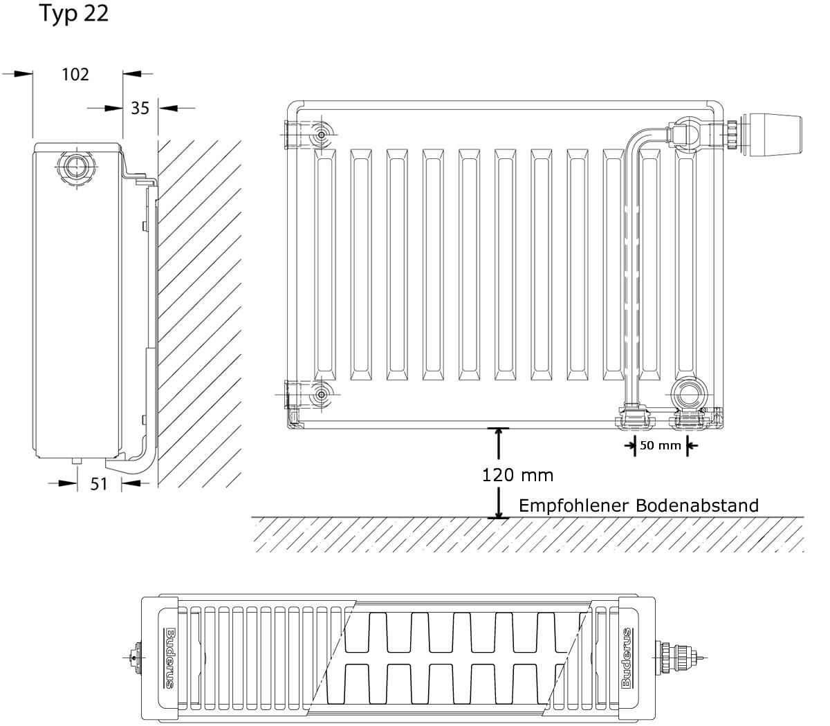 BUDERUS Ventil  Heizkörper Typ 22 H= 600 mm L= 2000 mm