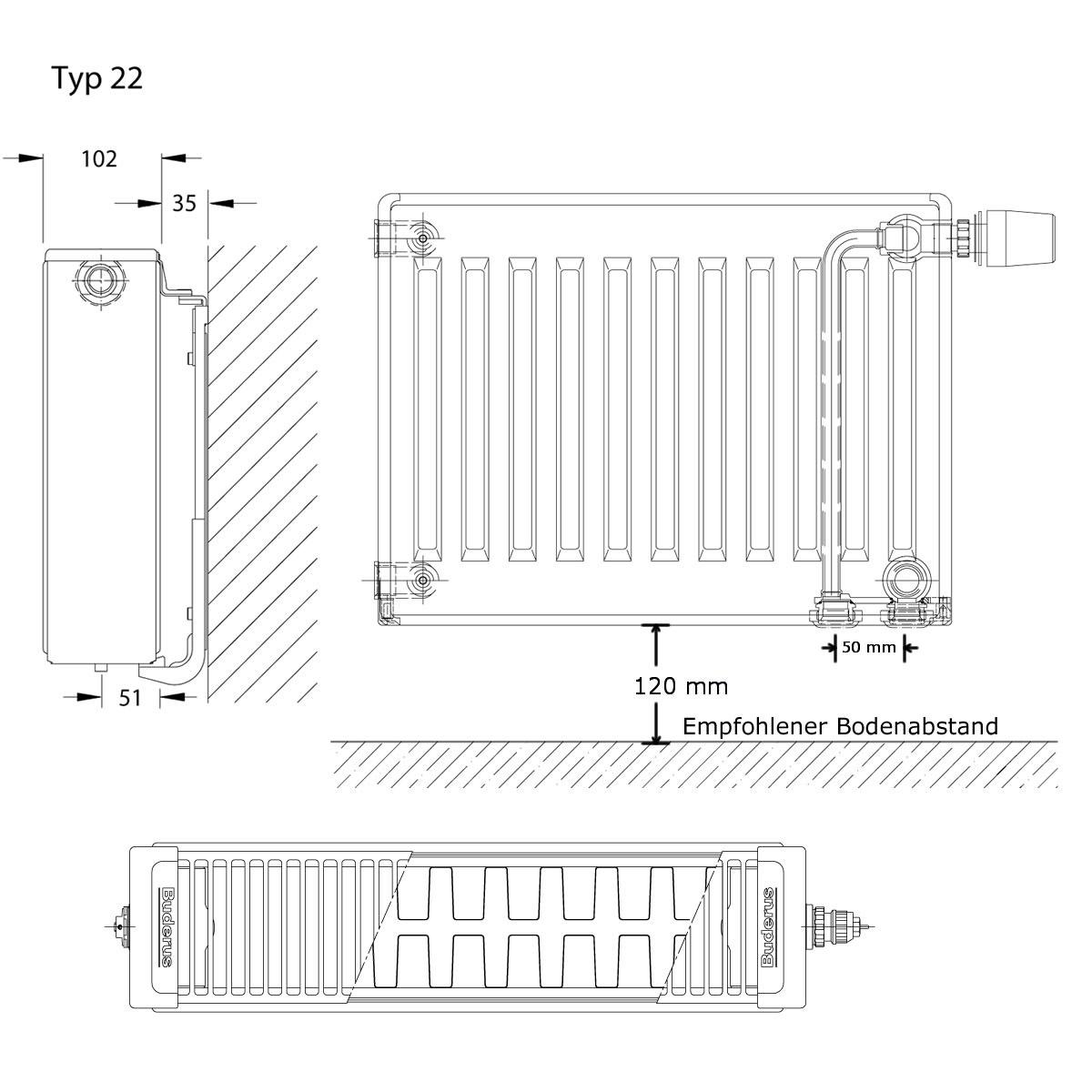 buderus logatrend vc profil ventil heizk rper h 300 mm l 1600 mm typ 22 1267 807 watt heizung. Black Bedroom Furniture Sets. Home Design Ideas