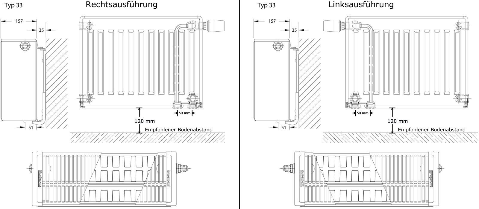 buderus logatrend vc profil ventil heizk rper h 600 mm l 1600 mm typ 33 3106 1964 watt. Black Bedroom Furniture Sets. Home Design Ideas