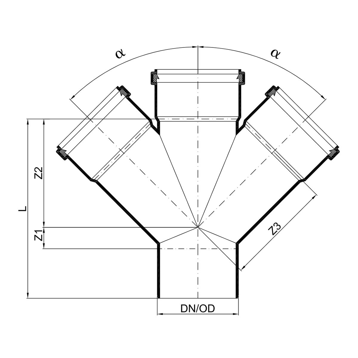 genug POLO-KAL NG Abflussrohr-Doppelabzweig 45° mit Muffen - DN 110 AT79