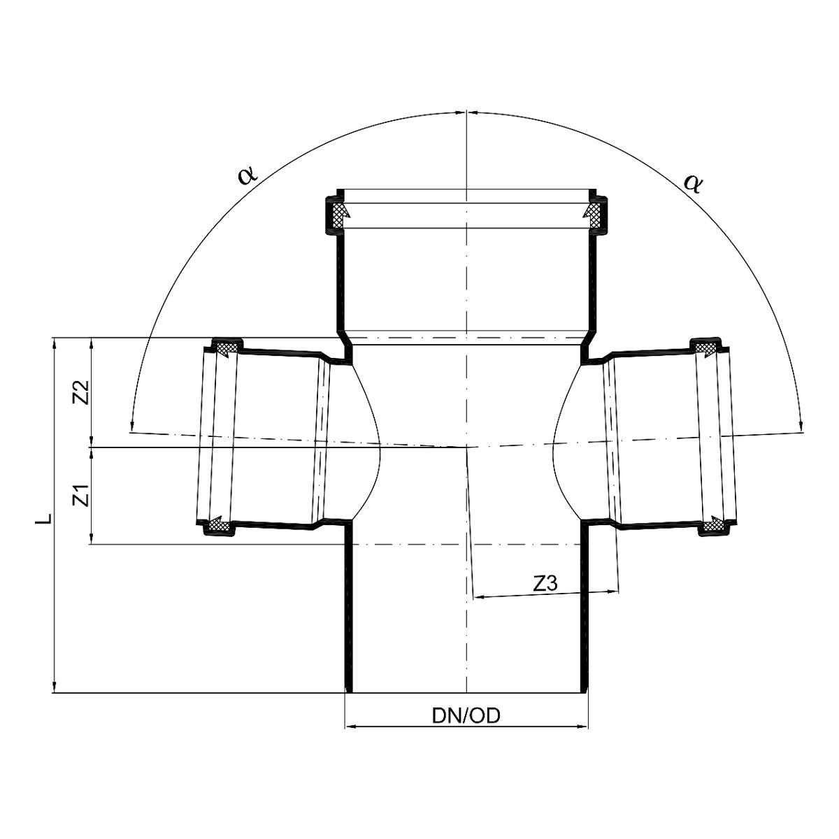 Bekannt POLO-KAL NG Abflussrohr-Doppelabzweig 87,5° Muffen - DN 110 / 75 / 75 QL03