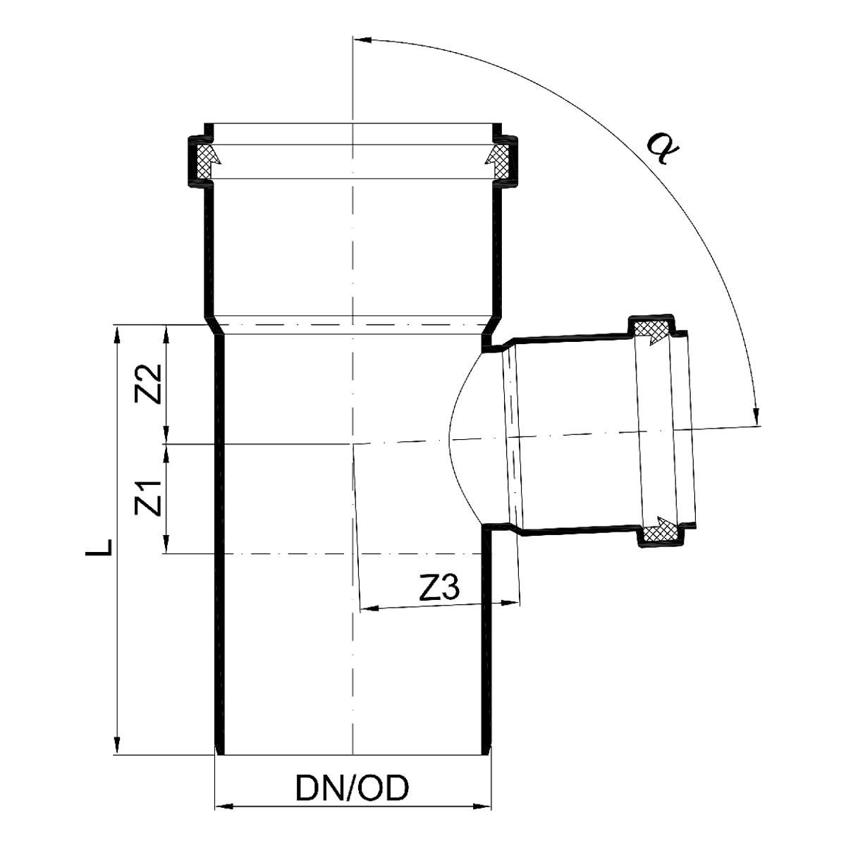 Favorit POLO-KAL NG Abflussrohr-Abzweig 87,5° mit Muffen - DN 160 / 110 RE94