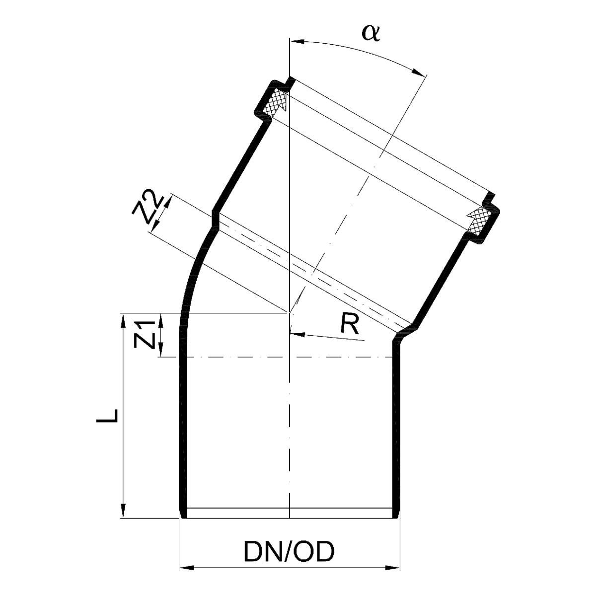 Bekannte POLO-KAL NG Abflussrohr-Bogen 30° mit Muffe - DN 50 WB47