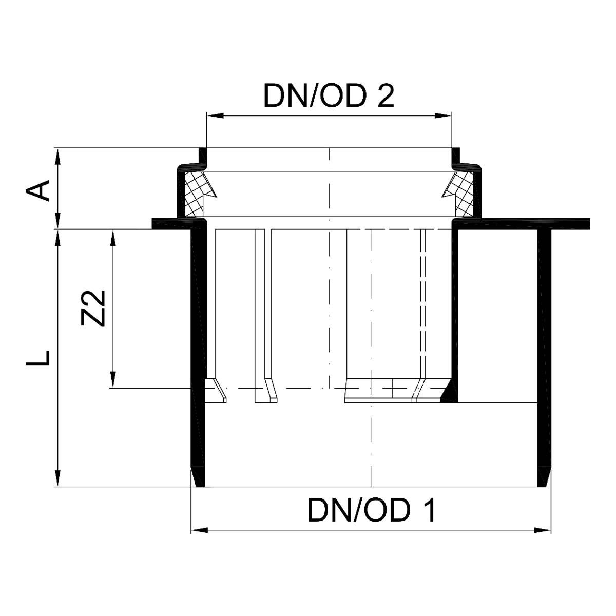Famous POLO-KAL NG Abfluss-Übergangsrohr kurz mit Muffe - DN 110 / 50 AG96