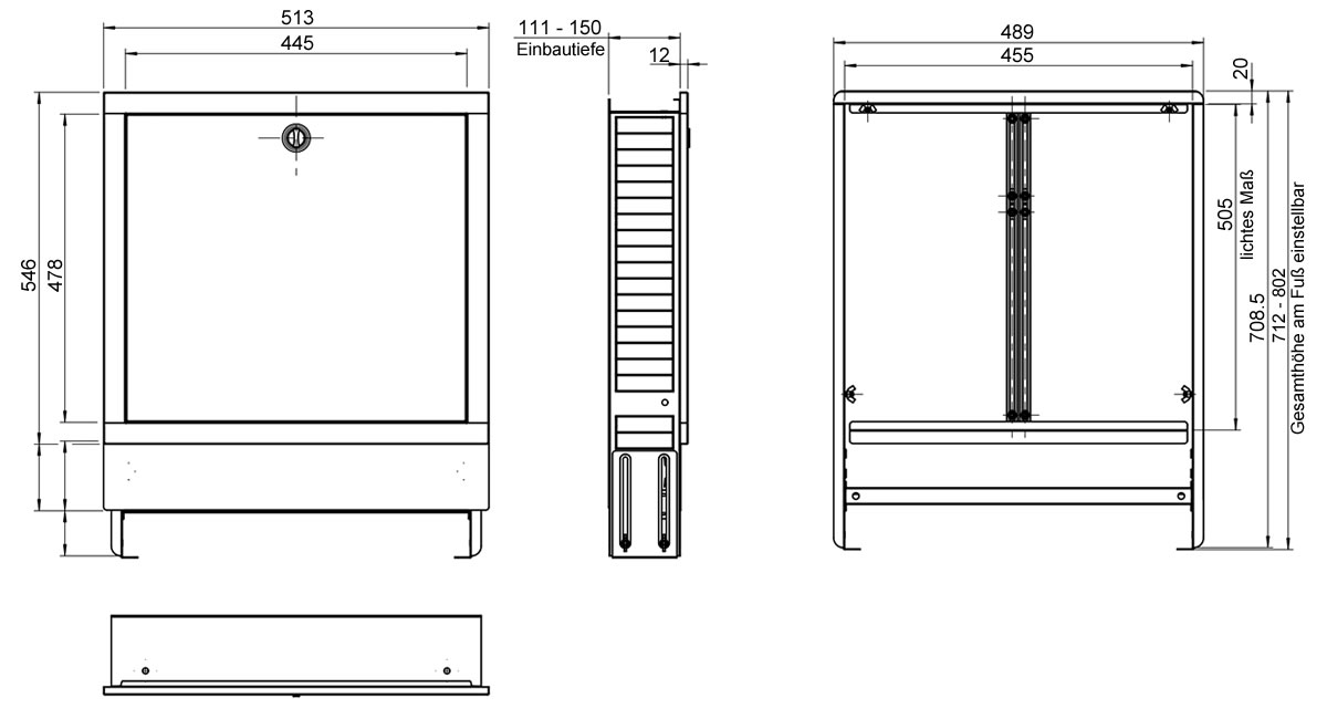 unterputz verteilerschrank farbe wei f r 3 5 heizkreise heizung. Black Bedroom Furniture Sets. Home Design Ideas