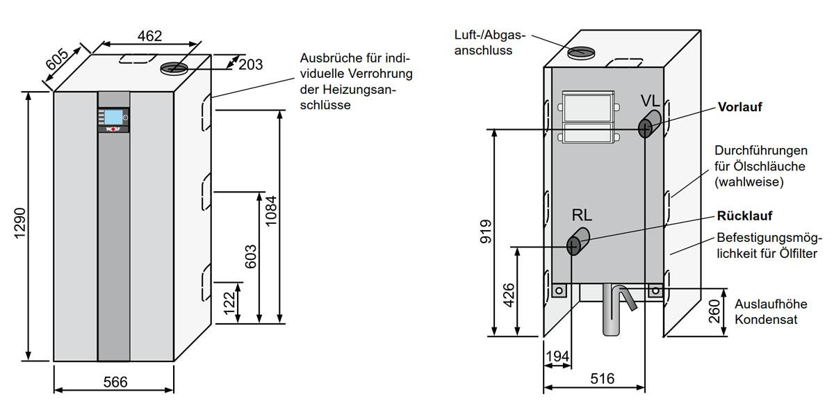 WOLF TOB-18 Ölbrennwertkessel Paket mit Bedienmodul BM-2 für ...