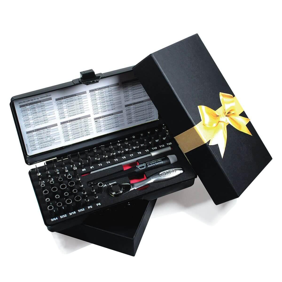 wiha micro bit set 65 teilig mit metall box in hochwertiger geschenkbox werkzeug. Black Bedroom Furniture Sets. Home Design Ideas