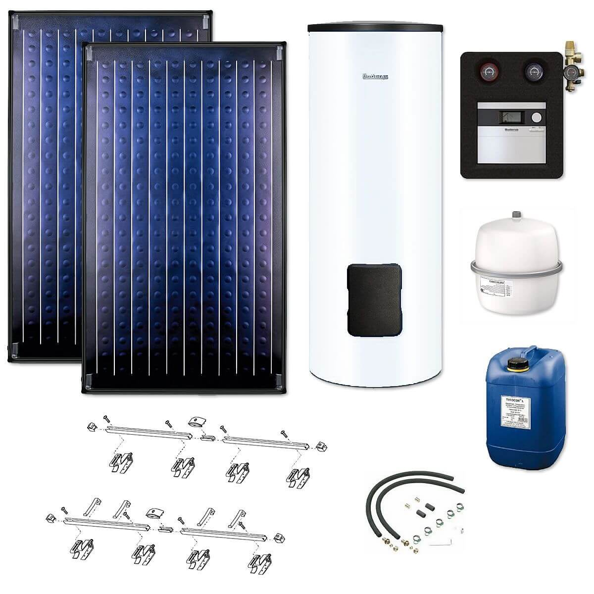 buderus solaranlage 2 kollektoren logasol skn4 0 s mit solarspeicher logalux sm300 wei. Black Bedroom Furniture Sets. Home Design Ideas