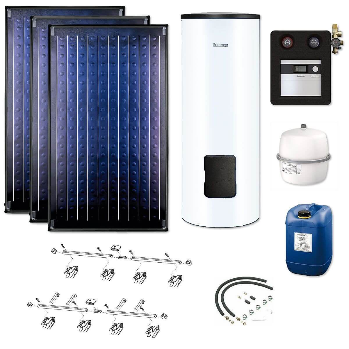 buderus solaranlage 3 kollektoren logasol skn4 0 s mit. Black Bedroom Furniture Sets. Home Design Ideas
