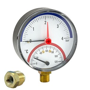 Caleffi Thermo-Manometer - Anschluss radial 1/4'' AG mit Montageventil 1/4'' IG x 1/2'' AG - Anzeige 0-4 bar / 0-120 �C
